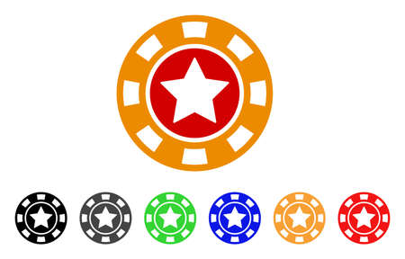 Star Casino Chip icon. Vector illustration style is a flat iconic star casino chip symbol with grey, yellow, green, blue, red, black color versions. Designed for web and software interfaces.