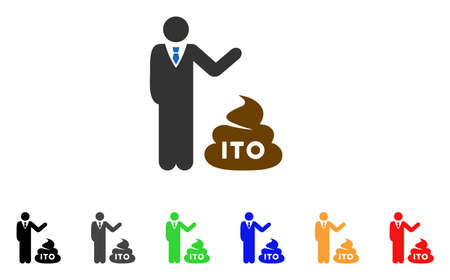 Businessman Show Ito Shit icon. Vector illustration style is a flat iconic businessman show ITO shit symbol with grey, yellow, green, blue, red, black color versions.