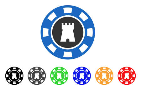 Bulwark Casino Chip icon. Vector illustration style is a flat iconic bulwark casino chip symbol with gray, yellow, green, blue, red, black color variants. Designed for web and software interfaces.