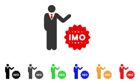 Businessman Show Imo Token icon. Vector illustration style is a flat iconic businessman show IMO token symbol with gray, yellow, green, blue, red, black color versions. Illustration