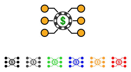 Casino Chip Circuit icon. Vector illustration style is a flat iconic casino chip circuit symbol with grey, yellow, green, blue, red, black color versions. Designed for web and software interfaces. Illustration