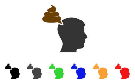Crap Thinking Person icon. Vector illustration style is a flat iconic crap thinking person symbol with gray, yellow, green, blue, red, black color variants. Designed for web and software interfaces.