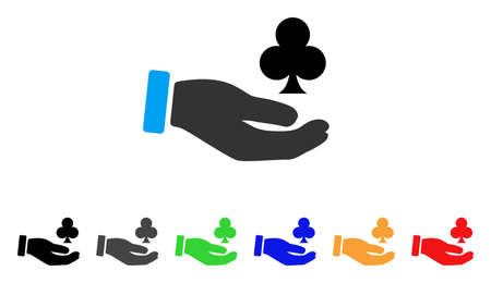 Croupier Hand icon. Vector illustration style is a flat iconic croupier hand symbol with grey, yellow, green, blue, red, black color variants. Designed for web and software interfaces.