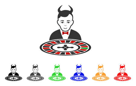 Devil Roulette Croupier icon. Vector illustration style is a flat iconic devil roulette croupier symbol with gray, yellow, green, blue, red, black color variants.