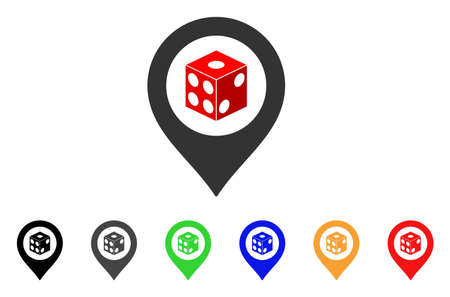 Dice Map Pointer icon. Vector illustration style is a flat iconic dice map pointer symbol with grey, yellow, green, blue, red, black color variants. Designed for web and software interfaces.