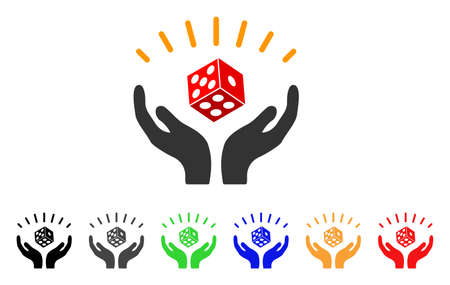 Dice Win Hands icon. Vector illustration style is a flat iconic dice win hands symbol with gray, yellow, green, blue, red, black color versions. Designed for web and software interfaces.