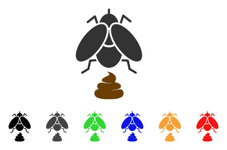 Fly Shit icon. Vector illustration style is a flat iconic fly shit symbol with gray, yellow, green, blue, red, black color variants. Designed for web and software interfaces.