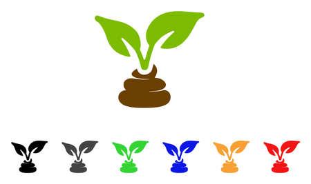 Icona di fertilizzante naturale giardino. Lo stile dell'illustrazione di vettore è un simbolo iconico naturale del fertilizzante del giardino iconico con le varianti di colore grige, gialle, verdi, blu, rosse, nere.