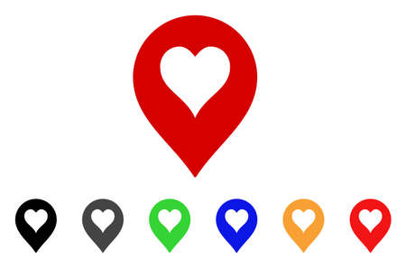 Heart Casino Marker icon. Vector illustration style is a flat iconic heart casino marker symbol with gray, yellow, green, blue, red, black color versions. Designed for web and software interfaces.