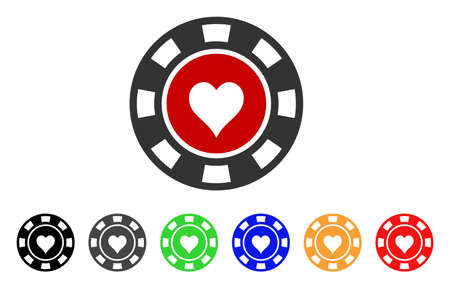 Hearts Casino Chip icon. Vector illustration style is a flat iconic hearts casino chip symbol with grey, yellow, green, blue, red, black color versions. Designed for web and software interfaces.