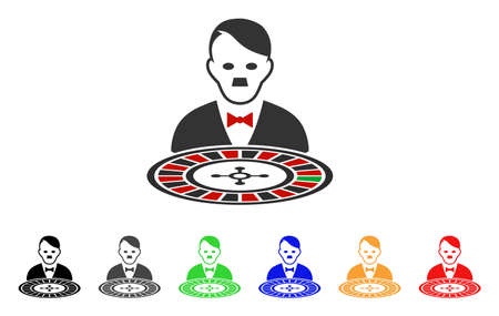 Hitler Roulette Croupier icon. Vector illustration style is a flat iconic hitler roulette croupier symbol with gray, yellow, green, blue, red, black color variants.