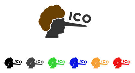 Ico Lier icon. Vector illustration style is a flat iconic ICO lier symbol with gray, yellow, green, blue, red, black color versions. Designed for web and software interfaces.