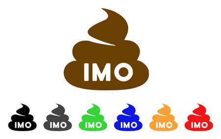 Imo poop icon. Vector illustration style is a flat iconic IMO poop symbol with gray, yellow, green, blue, red, black color versions. Designed for web and software interfaces.