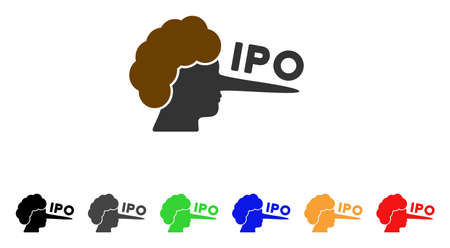 Ipo Lier icon. Vector illustration style is a flat iconic IPO lier symbol with grey, yellow, green, blue, red, black color variants. Designed for web and software interfaces.