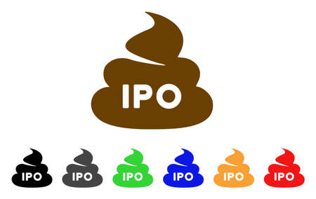 Ipo poop icon. Vector illustration style is a flat iconic IPO poop symbol with grey, yellow, green, blue, red, black color variants. Designed for web and software interfaces.
