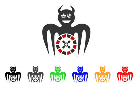 Roulette Mad Spectre Devil icon. Vector illustration style is a flat iconic roulette mad spectre devil symbol with grey, yellow, green, blue, red, black color variants. Ilustração