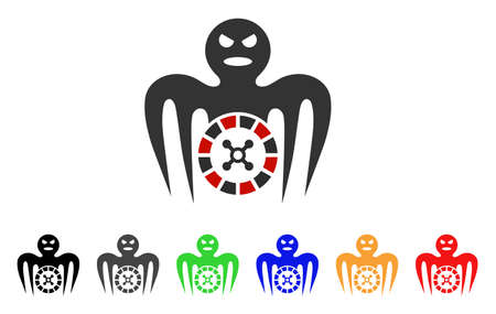 Roulette Spectre Monster icon. Vector illustration style is a flat iconic roulette spectre monster symbol with grey, yellow, green, blue, red, black color variants. Illustration