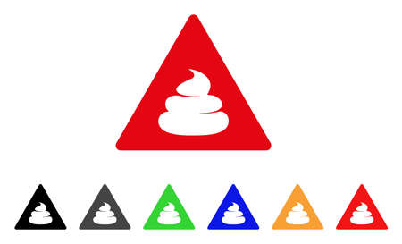 Shit Danger icon. Vector illustration style is a flat iconic shit danger symbol with grey, yellow, green, blue, red, black color versions. Designed for web and software interfaces.