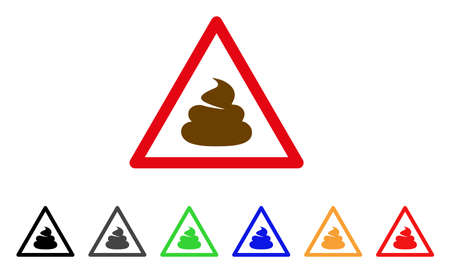 Shit Warning icon. Vector illustration style is a flat iconic shit warning symbol with grey, yellow, green, blue, red, black color versions. Designed for web and software interfaces. Illustration