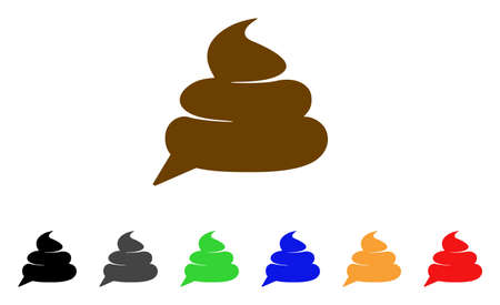 Shit Idea Cloud icon. Vector illustration style is a flat iconic shit idea cloud symbol with grey, yellow, green, blue, red, black color versions. Designed for web and software interfaces.