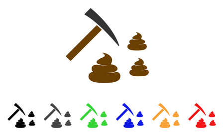 Shit Mining icon. Vector illustration style is a flat iconic shit mining symbol with gray, yellow, green, blue, red, black color versions. Designed for web and software interfaces.
