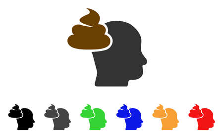 Shit Thinking Head icon. Vector illustration style is a flat iconic shit thinking head symbol with gray, yellow, green, blue, red, black color versions. Designed for web and software interfaces. Illustration