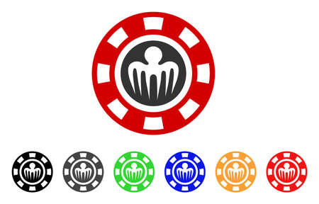 Spectre Casino Chip icon. Vector illustration style is a flat iconic spectre casino chip symbol with gray, yellow, green, blue, red, black color versions. Designed for web and software interfaces. Illusztráció