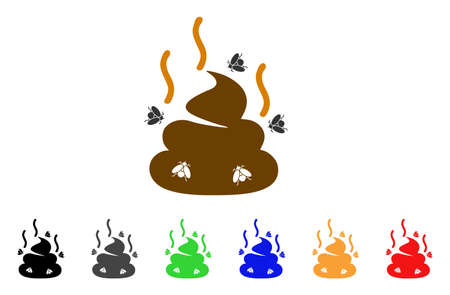 Smelly poop icon. Vector illustration style is a flat iconic smelly poop symbol with gray, yellow, green, blue, red, black color versions. Designed for web and software interfaces. Illustration