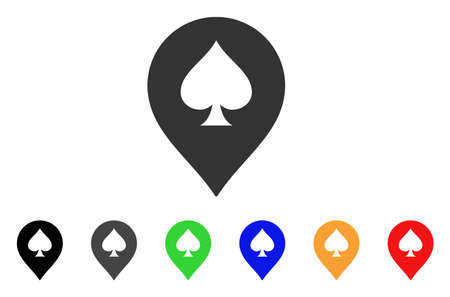 Spade Casino Marker icon. Vector illustration style is a flat iconic spade casino marker symbol with grey, yellow, green, blue, red, black color variants. Designed for web and software interfaces.