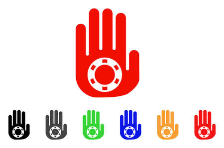 Stop Gambling Palm icon. Vector illustration style is a flat iconic stop gambling palm symbol with gray, yellow, green, blue, red, black color variants. Designed for web and software interfaces. Illustration