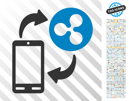 Ripple Mobile Banking icon with 7 hundred bonus bitcoin mining and blockchain pictograms. Vector illustration style is flat iconic symbols designed for blockchain websites. Illustration