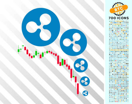 Ripple Deflation Chart pictograph with 7 hundred bonus bitcoin mining and blockchain images. Vector illustration style is flat iconic symbols designed for crypto currency websites.