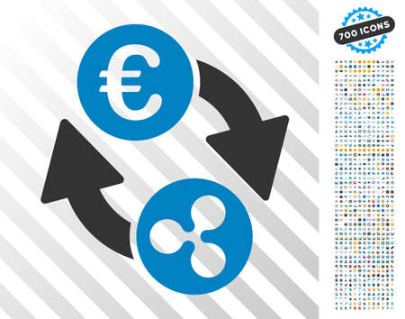 Ripple Euro Exchange pictograph with 7 hundred bonus bitcoin mining and blockchain pictures. Vector illustration style is flat iconic symbols designed for cryptocurrency websites. Illustration