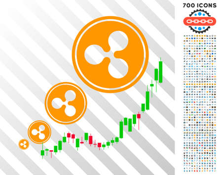 Ripple Inflation Chart icon with 7 hundred bonus bitcoin mining and blockchain pictograms. Vector illustration style is flat iconic symbols designed for blockchain websites.