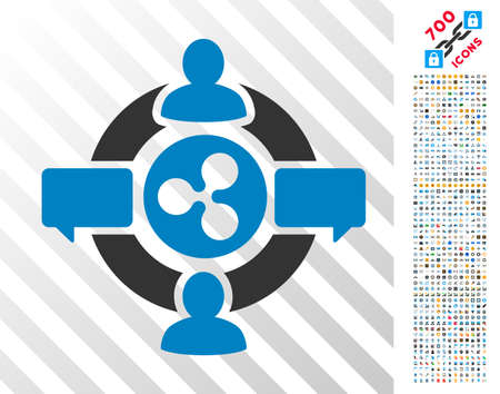 Ripple Social Network pictograph with 7 hundred bonus bitcoin mining and blockchain images. Vector illustration style is flat iconic symbols designed for crypto-currency software.