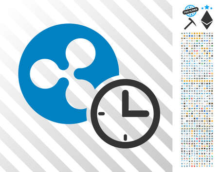 Ripple Credit pictograph with 7 hundred bonus bitcoin mining and blockchain pictograms. Vector illustration style is flat iconic symbols designed for crypto-currency apps.