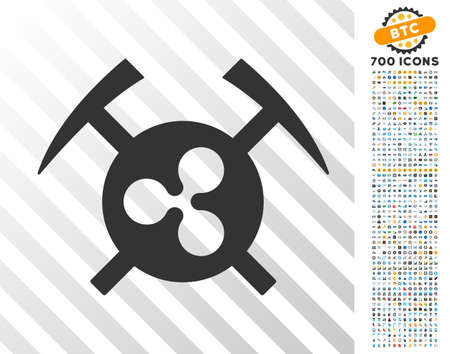 Ripple Mining Hammers icon with 700 bonus bitcoin mining and blockchain images. Vector illustration style is flat iconic symbols designed for crypto currency software.