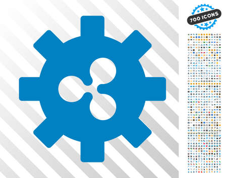 Ripple Development Gear icon with 7 hundred bonus bitcoin mining and blockchain clip art. Vector illustration style is flat iconic symbols designed for crypto-currency software.