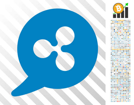 Ripple Message Balloon pictograph with 700 bonus bitcoin mining and blockchain pictographs. Vector illustration style is flat iconic symbols designed for blockchain websites.