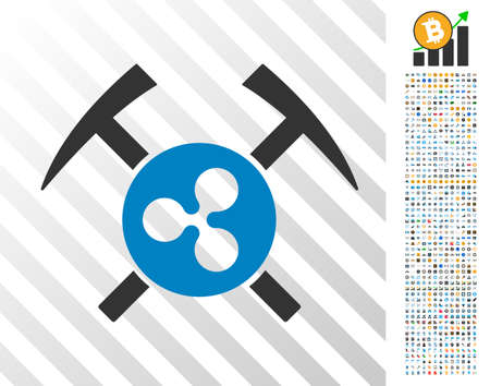 Ripple Mining Hammers icon with 7 hundred bonus bitcoin mining and blockchain clip art. Vector illustration style is flat iconic symbols designed for cryptocurrency websites.