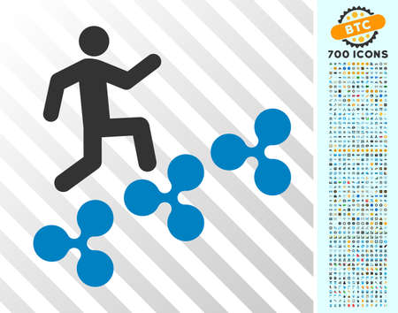 Man Climb Ripple icon with 700 bonus bitcoin mining and blockchain graphic icons. Vector illustration style is flat iconic symbols designed for crypto currency apps. Illustration