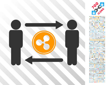 People Exchange Ripple Coin icon with 7 hundred bonus bitcoin mining and blockchain pictograms. Vector illustration style is flat iconic symbols designed for bitcoin apps.