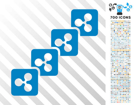 Ripple Block Chain pictograph with 7 hundred bonus bitcoin mining and blockchain pictographs. Vector illustration style is flat iconic symbols designed for bitcoin software.