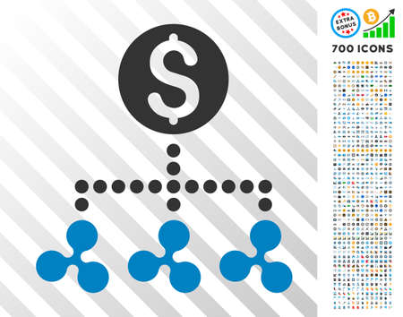 Ripple Money Relations pictograph with 700 bonus bitcoin mining and blockchain design elements. Vector illustration style is flat iconic symbols designed for cryptocurrency apps. Illustration