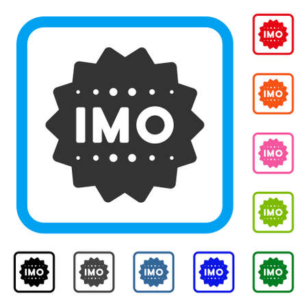 Imo token icon. Flat gray pictogram symbol in a blue rounded rectangular frame. Black, grey, green, blue, red, pink color variants of imo token vector. Designed for web and app user interface.