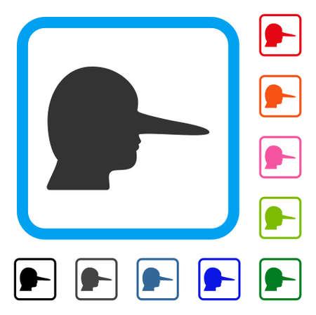 Lier icon. Flat gray pictogram symbol inside a blue rounded rectangular frame. Black, grey, green, blue, red, orange color additional versions of lier vector. Designed for web and software UI.