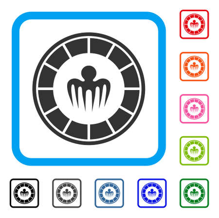 Spectre Casino icon. Flat gray pictogram symbol in a blue rounded rectangle. Black, grey, green, blue, red, orange color additional versions of spectre casino vector.