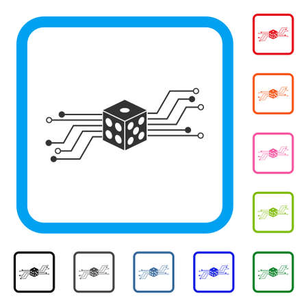 Digital dice circuit icon flat gray pictogram symbol in rounded frame designed for web and software interfaces