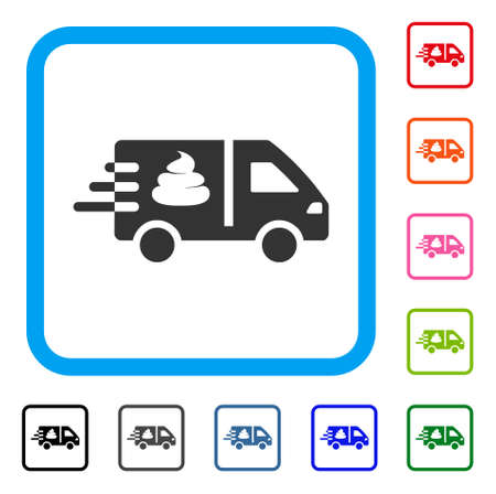 Express Manure Delivery icon. Flat gray pictogram symbol inside a blue rounded frame. Black, gray, green, blue, red, pink color additional versions of express manure delivery vector.