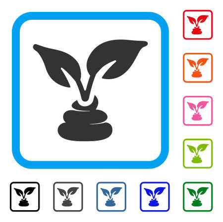 Garden natural fertilizer icon. Flat grey iconic symbol inside a blue rounded rectangular frame. Black, gray, green, blue, red, pink color variants of garden natural fertilizer vector.